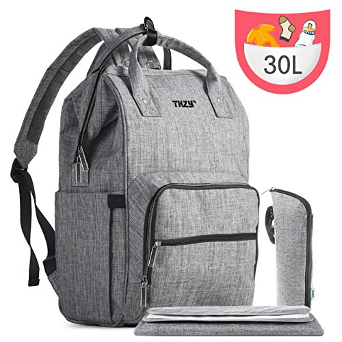 Diaper Bag Backpack, THZY Multi-Function Waterproof Maternity Nappy Bags for Boys/Girls – Large Capacity Organizer, Durable and Stylish, Gray