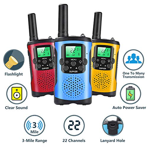 Walkie Talkies for Kids 3Pack, 22 Channels 2 Way Radio Kids Talks Toy for 3-12 Year Old Boys Girls Gift, 3 Miles Long…