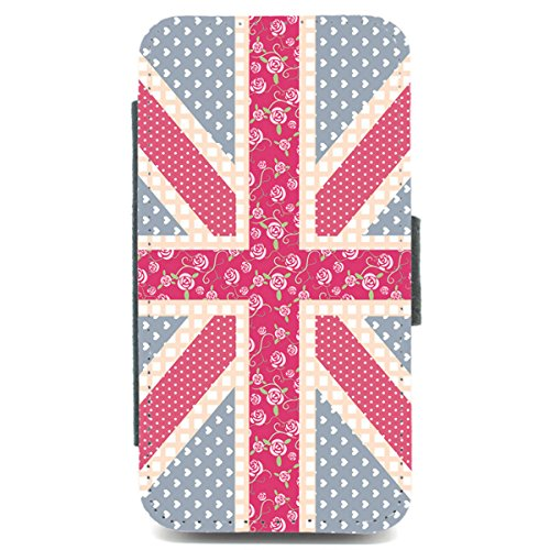 iPhone 4/4s, Motiv union jack, mit Kartenfächern, Blumenmuster, pinterest, pink