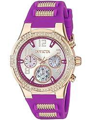 Invicta Womens BLU Quartz Gold and Silicone Casual Watch, Color:Purple (Model: 24201)