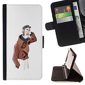 Momo Phone Case / Flip Funda de Cuero Case Cover - Hombre amistoso Retrato artístico Sombrero Pintura - Samsung Galaxy J3 GSM-J300