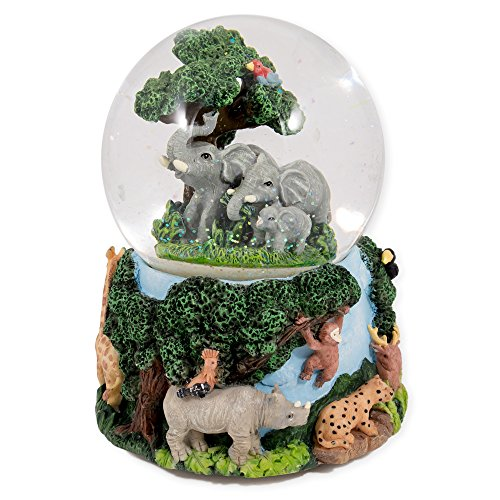 Elephants and Safari Animals Glass Musical Snow Globe Plays Song Big Country by Cadona