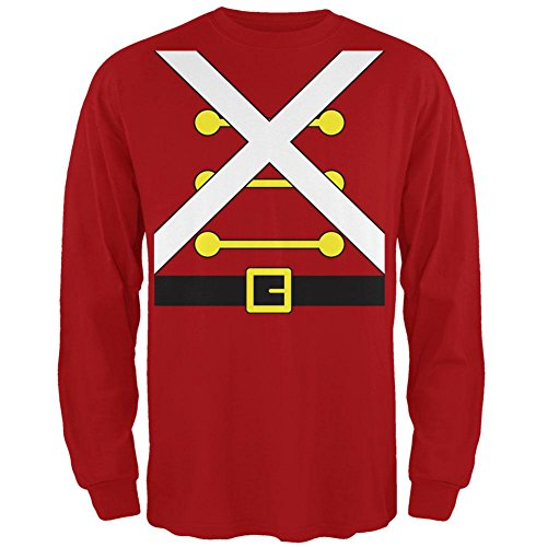 Christmas Toy Soldier Costume Red Adult Long Sleeve T-Shirt - (Toy Soldier Clothing)