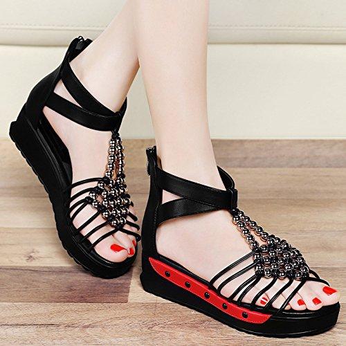 Flojos Sandalias Nuevos Muyii Inferiores Las Mujeres Romanos Zapatos Los De Estilo Plana Verano Del Versión Británico Coreana Black wggOSd