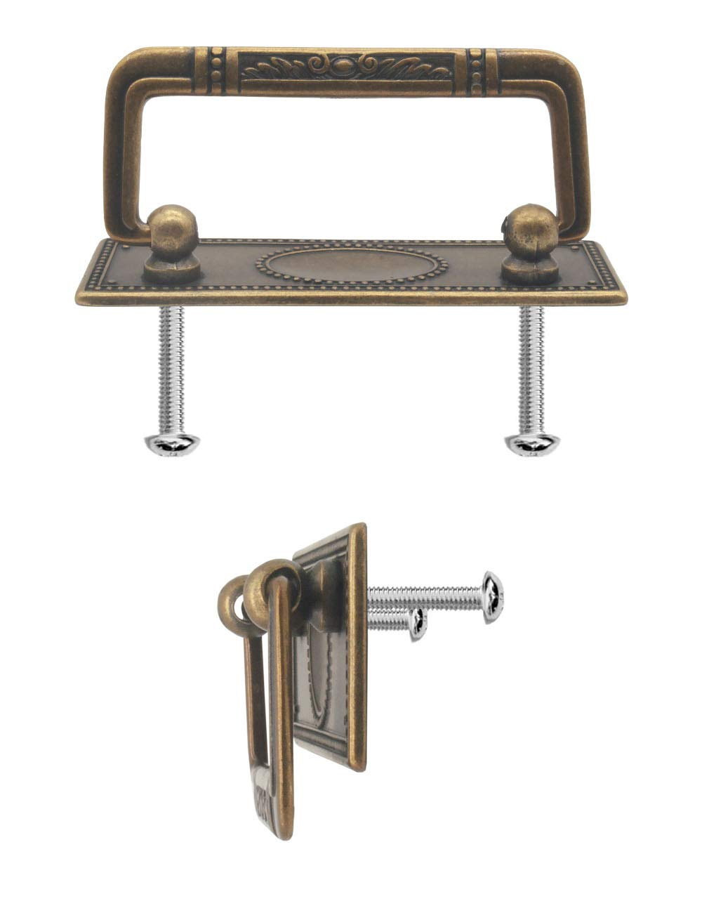Schr/änke 2x Griffe Antik klappbar Antik 95 x 41 mm 2er Set FUXXER/® f/ür Schubladen Truhen