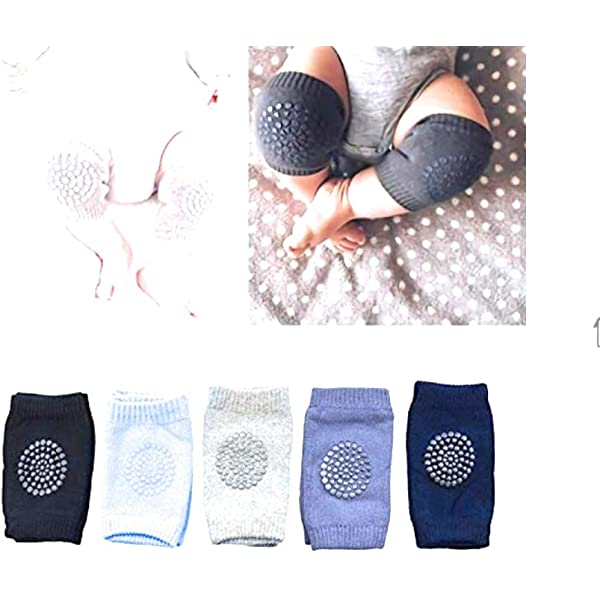 Baby Crawling Anti Slip Knee Pads Unisex Clothing Accessories Toddler Leg Warmers Safety Protective Cover Toddlers Learn to Socks Children Short Kneepads,5 Pair