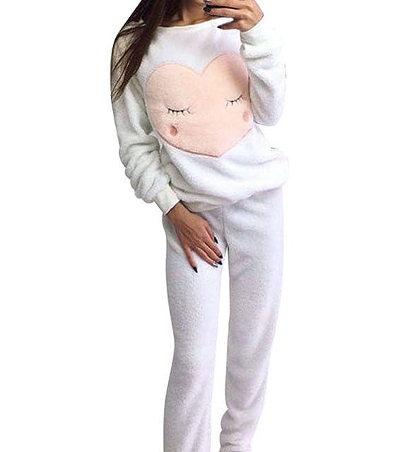 d45e17ca94 Mujer Conjunto De Pijama Manga Larga Otoño E Invierno Más Cachemira  Mantener Caliente Ropa De Dormir