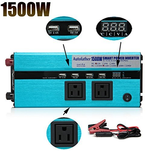 Digital Display Design Car Power Inverter 1500W DC to AC 110V 120V with Outlets & USB Ports Charger for Phone/Laptop/RVS/DVD Player - US Standard Plug by Autobaba
