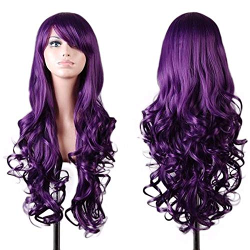 Wigs for Masquerade,Women's Wig, Long Wigs,Women Lady Long Wavy Curly Hair Anime Cosplay Party Full Wig Wigs Purple]()