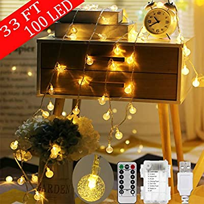 Auosveo Crystal Ball String Lights, 33 FT 100 LED String Lights, Support Two Powered Ways USB and Battery, Remote Control has 11 Control Modes, Waterproof Fairy String Lights for Indoor, Outdoor
