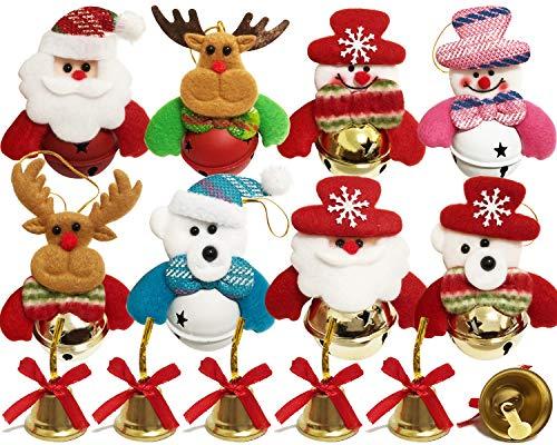 NEWANIMA Christmas Jingle Bells Decorations, 17Pcs Set Christmas Tree Ball Ornaments Hooks for Holiday Party (Style1-17Pcs)