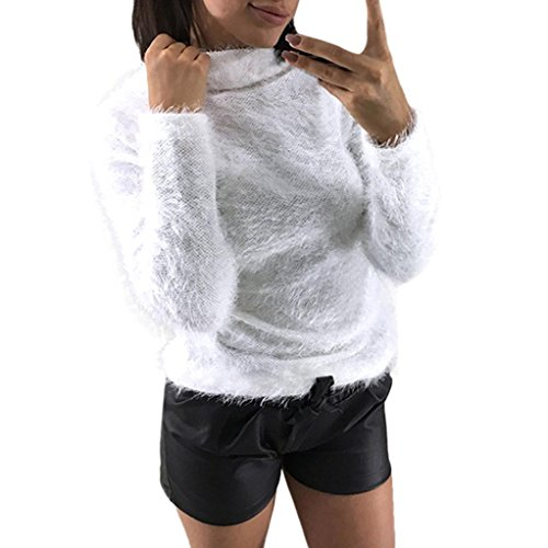 Ladies 35' Lab Coat (Hot Sale!! Women Fleece Sweater Blouse,Lelili Solid Color Long Sleeve Round Neck Plush Warm Jumper Pullover Tops (S, White))