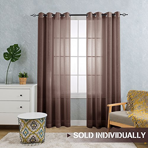 Fairmont 84 Inch Faux Linen Sheer Curtains/Panels/Drapes for Living Room / Bedroom With Grommet Top Design, (Single Panel, Coffee Brown) (Sheer Curtain Ideas For Living Room)