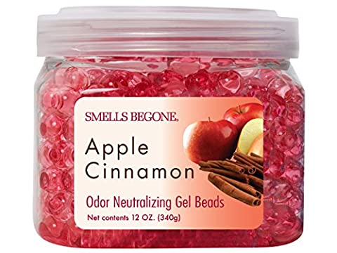 SMELLS BEGONE Odor Eliminator Gel Beads - Eliminates Odor in Bathrooms, Cars, Boats, RVs and Pet Areas - Air Freshener Made with Natural Essential Oils - Apple Cinnamon Scent (12 - Cinnamon Scented Perfume