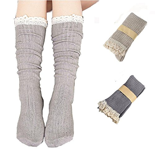 RRiody 4 Pairs Women Crochet Lace Trim Cotton Knit Footed Leg Boot Knee High Stocking (2 pairs)