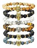 Finrezio 6PCS Mens Bead Bracelets Set Dragon/Lion/Panther Charm Lava Rock Natural Stone Bracelet, 8MM (Style A: 6Pcs of Elastic)