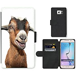 PU Cuir Flip Etui Portefeuille Coque Case Cover véritable Leather Housse Couvrir Couverture Fermeture Magnetique Silicone Support Carte Slots Protection Shell // V00001678 cabra en blanco // Samsung Galaxy S6 (Not Fits S6 EDGE)