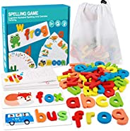 Coogam See Spelling Learning Toy Wooden ABC Alphabet Flash Cards Matching Shape Letter Games Montessori Presch