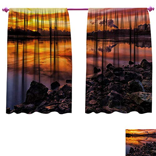 - cobeDecor Landscape Blackout Draperies for Bedroom USA Missouri Kansas City Scenery of a Sunset Lake Nature Camping Themed Art Photo Patterned Drape for Glass Door W108 x L72 Multicolor