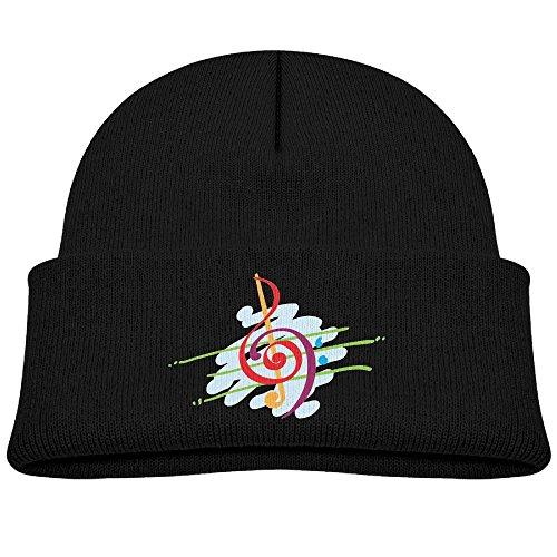 Tongbu Colorful Musical Notes Kids Winter Warm Knitted Hat Fashion Wool Caps Beanie Children Girls Boys Knit Cap Black