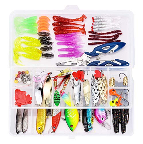 (KMBEST Fishing Lures Mixed Lots Including Hard Lure Minnow Popper Crankbaits VIB Topwater Diving Floating Lures Soft Plastics Worm Spoons Other Saltwater Freshwater Lures with Tackle Box (109PCS/BOX))