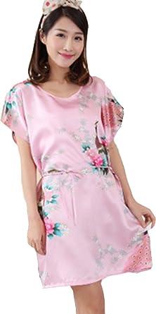 Vincenza Ladies Stylish Pajamas Nightie Womens Nightdress Dress Rayon  Leisure Sleepwear Robes Kimono Silk Style Peacock 24aab0ed6