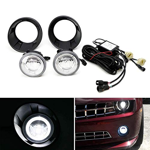 iJDMTOY LED Halo Ring Daytime Running Light Foglamps Kit For 10-13 Chevrolet Camaro, Includes (2) CREE LED DRL/Fog Lights, (2) Garnish Bezels & Wiring Harness (Camaro 13 Chevrolet)