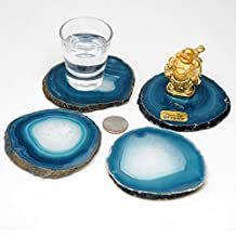"Gift Set of Four Genuine Brazilian (3""- 3.5"") Agate Coasters. Includes Protective rubber bumpers and Certified agate information card. TEAL"