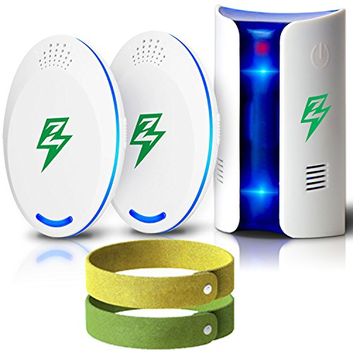 Portable Pest Control Ultrasonic Electronic Ultrasound Electromagnetic Indoor Repeller 2018 Plug In-[3 Pack +2 Mosquito Bracelets +eBook] Anti Mosquito Mice Spider Cricket Cockroach Repellent (Ultrason Repeller Pest)