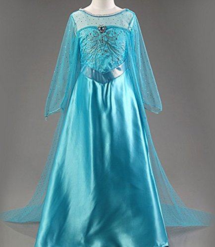 [CXFashion Elsa Fever Baby Girls Princess Dress Party Cosplay Costume Clothes(4T)] (Frozen Costumes Women)