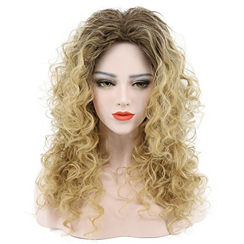 Karlery Women's Fluffy Black Gradient Gold Mixed Dark Root Long Curly Hair Halloween Costume Cosplay Wig -