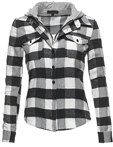 Buffalo Plaid Flannel Hoodie Button Down Shirts, 045-Black Ivory, US L