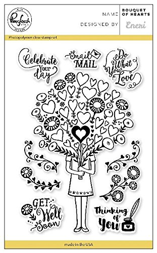 - Pinkfresh Studio PFCS1018 Bouquet of Hearts, Clear Stamp Set