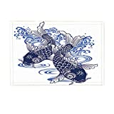 NYMB Asian Decor Bath Rug, Blue And White Porcelain Fish, Non-Slip Doormat Floor Entryways Indoor Front Door Mat Bathroom Rugs Memory Foam, Kids Bath Mat, 15.7x23.6in
