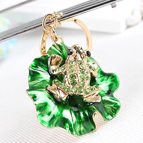 HARDWARE FOR YOU LTD 1 CRYSTAL GREEN FROG ON A LILLY PAD KEYRING Supplied by HARDWARE FOR YOU
