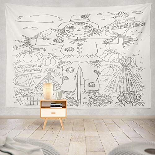 Hdmly Halloween Pumpkin Tapestry Wall Hanging Decor, Decorative Wall Tapestry Scarecrow Halloween Coloring Fall Kids 60