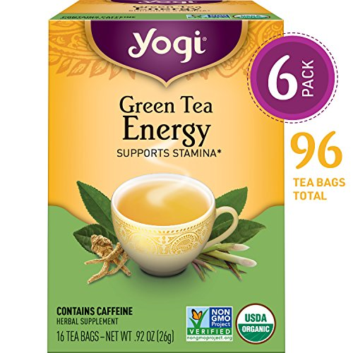 Kosher Ginseng - Yogi Tea - Green Tea Energy - Supports Stamina - 6 Pack, 96 Tea Bags Total