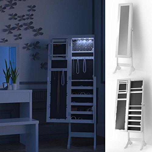 Schmuckschrank Spiegelschrank mit LED Beleuchtung Standspiegel Schmuckkasten Spiegel Louise