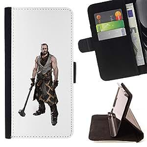 BullDog Case - FOR/Apple Iphone 4 / 4S / - / HAMMER WARRIOR MAN MUSCLES MASCULINE ART /- Monedero de cuero de la PU Llevar cubierta de la caja con el ID Credit Card Slots Flip funda de cuer