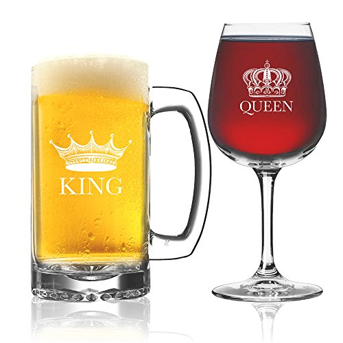 King Beer Queen Wine Glass (Set of 2) - Couples Newlyweds Wedding Gift - His and Hers Drinkware - Mr and Mrs - Couple Glassware - Funny Fancy Wine Mug Glasses - Cool Royalty Novelty Drinking Cups