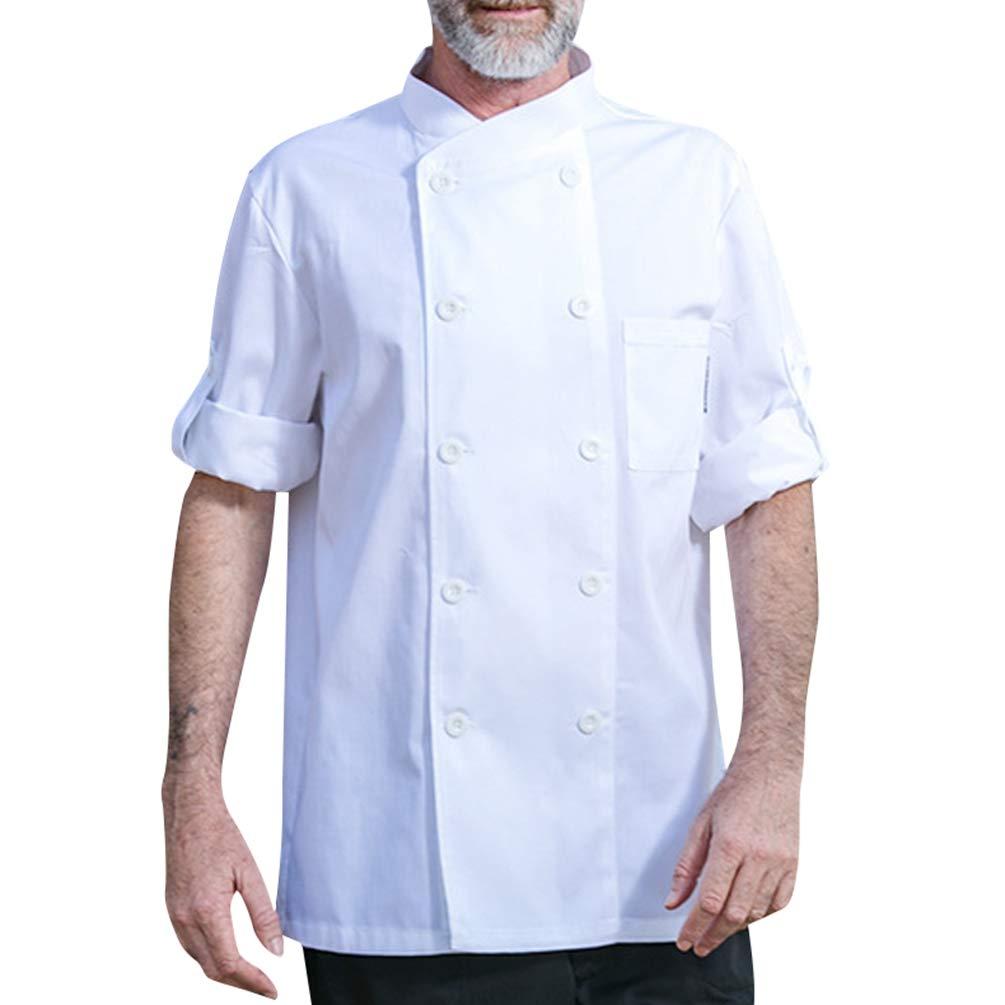 Dexinx Unisex Adulti Cuochi Cappotto Giacca Hotel Cucina Uniforme 3 ... e681c58cdc35
