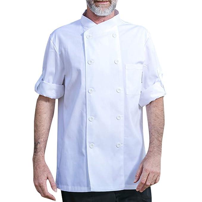 e41ef62092 Dexinx Unisex Adulti Cuochi Cappotto Giacca Hotel Cucina Uniforme 3 ...