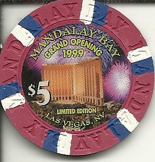 $5 mandalay bay obsolete grand opening 1999 las vegas casino chip obsolete