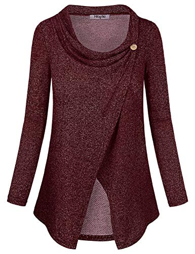 Hibelle Maternity Tunic, Womens Beautiful Nursing Outfits for Breastfeeding Warm Cowl Neck Split Hem Nice Button Down Blouse Shirts Loose Fit Flattering Post Partum Clothes Wine L