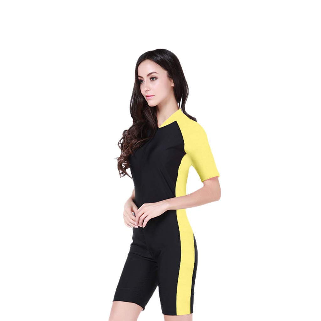 YEZIJIN Woman One Piece Short Sleeve 2mm Neoprene Conjoined Diving Suit Thin Wetsuit New Wetsuit top Long/Short Sleeve Yellow