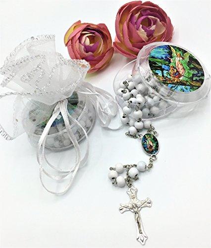 White Wood Rosaries Baptism First Communion party Favor Angel De La Guarda rosarios]()