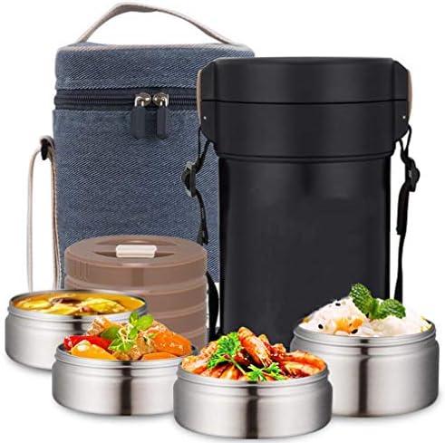 ステンレス製保冷弁当箱、2.3L大容量3層式お弁当箱、長持ちする保温保冷弁当箱セット、カトラリー保温袋付き、学生事務員弁当箱,黒
