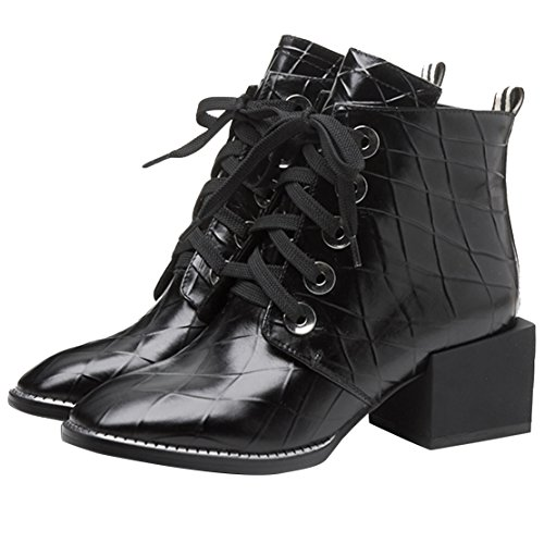 AIYOUMEI Damen Leder Kurzschaft Stiefel mit Schnürung 6cm Absatz High Heels Schnürstiefel Schuhe schwarz(leder gefüttert)