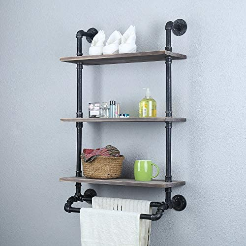 Industrial Floating Shelves Pipe Shelving,Rustic Bathroom Shelf Over Toilet 3 Tier,Metal Pipe Shelves Wall Mounted with 2 Towel Bar,24in Wood Shelf Pipe Shelf Iron Farmhouse Towel Rack Towel Shelf