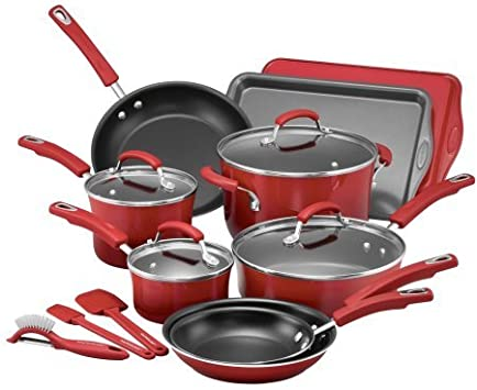 Rachael Ray 16-Piece Hard Porcelain Enamel Nonstick Cookware Set Red Gradient